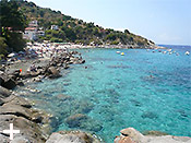 White beaches, cliffs, untouched nature at Sant'Andrea on the island of Elba